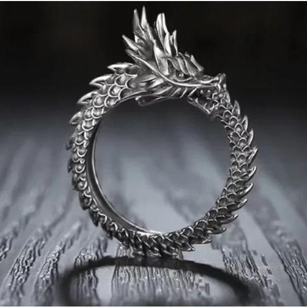 Unik Antik Silver Ring - Drake med Svart Mönster - Justerbar Silver one size