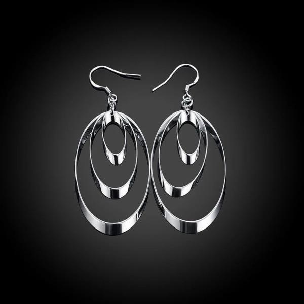 Långa Silver Örhängen - 3 Ovala Stilrena Ringar  Silver