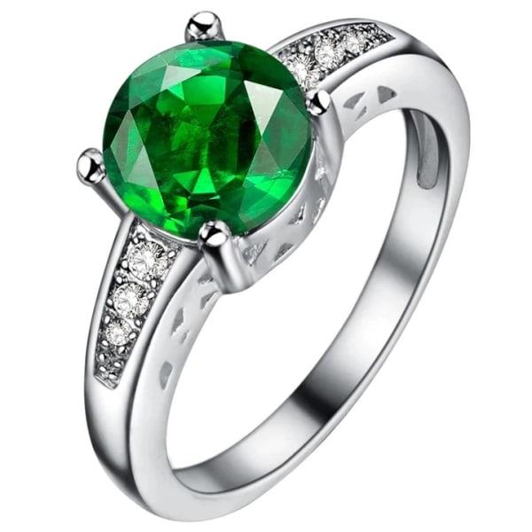 Silver Ring med Rund Grön & Vit CZ Kristall - Stl 16,5 Grön