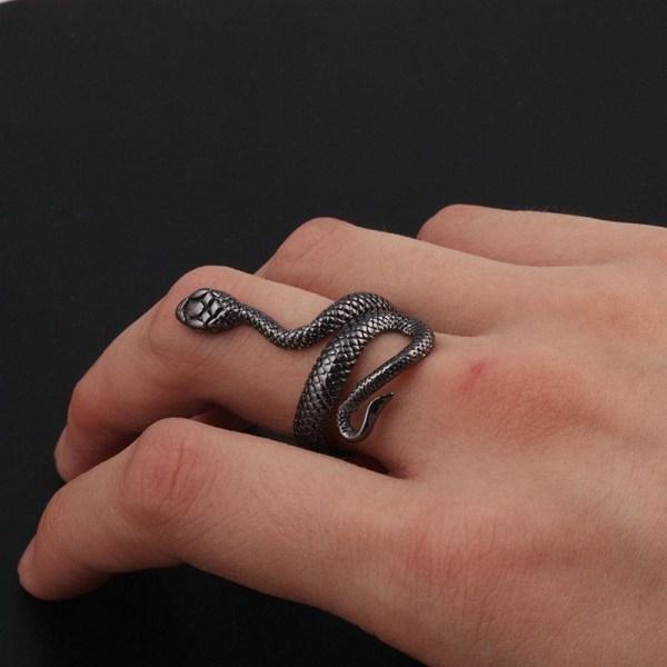 Unik Mörkgrå Silver Ring med Mönstrad Orm / Snake - Justerbar Mörkgrå one size