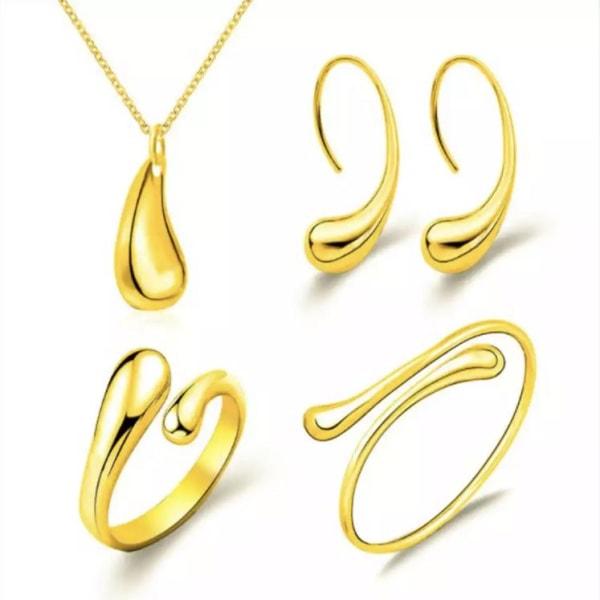 Fint Guld Smyckesset med Droppe / Droppar i 4 Delar Guld
