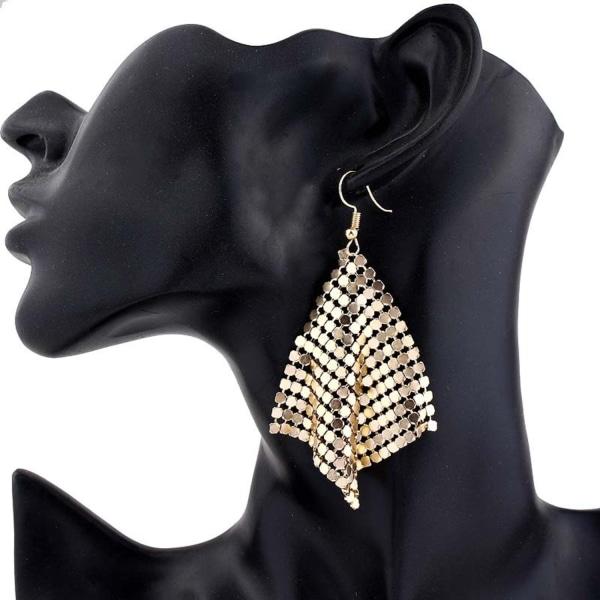 Glittrande Party Örhängen med Hängande Fyrkanter i Guld Färg Guld