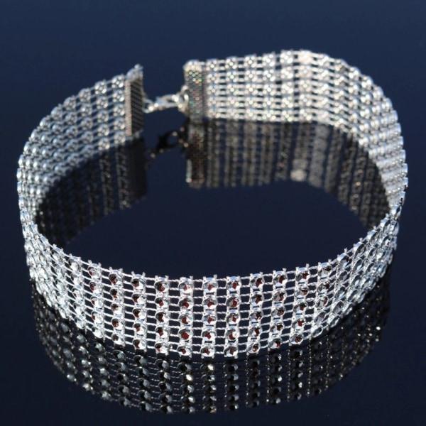 Glittrande Vintage Silver Halsband - 5-radigt Choker Silver
