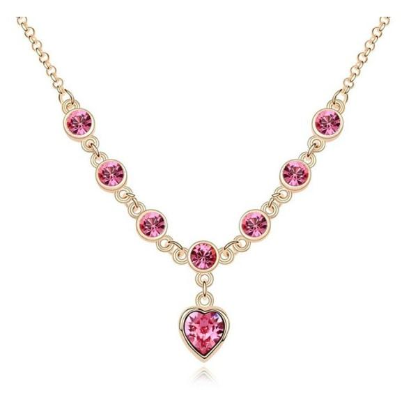 Guld Halsband med Hjärta - Glittrande Rosa CZ Kristaller - 18KGP Rosa