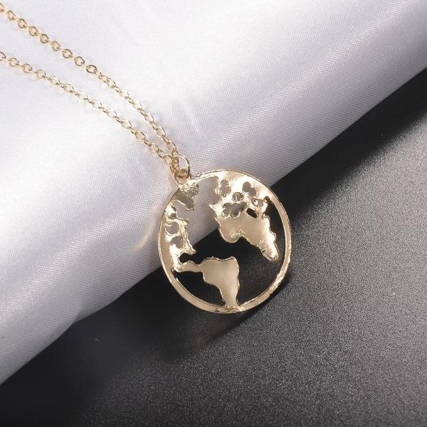Guld Halsband med Runt Hänge med Världskarta / Världen /Jorden Guld