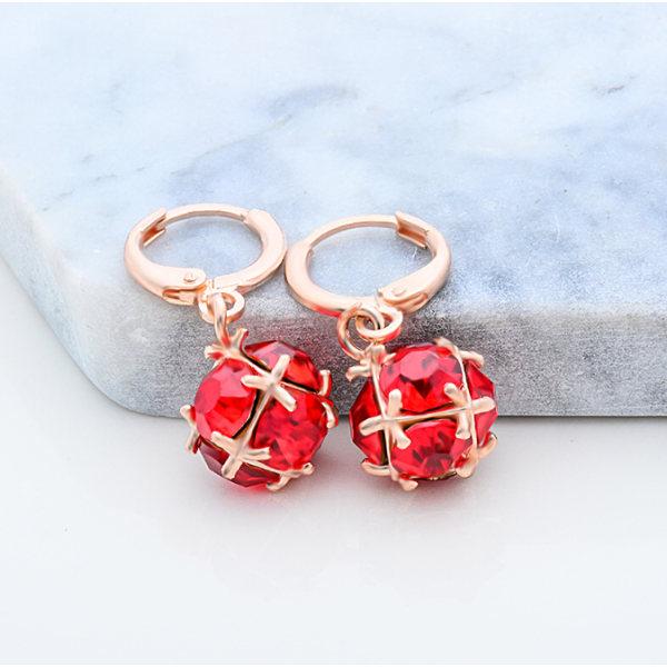 Guld Örhängen - Glittrande Röd CZ Kristall - 18K Rosé GP Röd