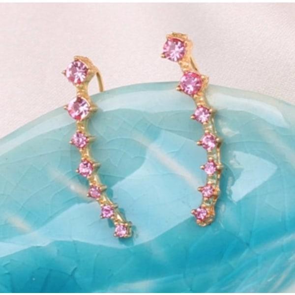 Guld Örhängen med en rad Strass / Stjärnor / Rosa CZ Kristaller  Guld