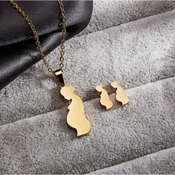 Guld Smyckesset - Halsband & Örhängen - Gravid kvinna / Mamma Guld