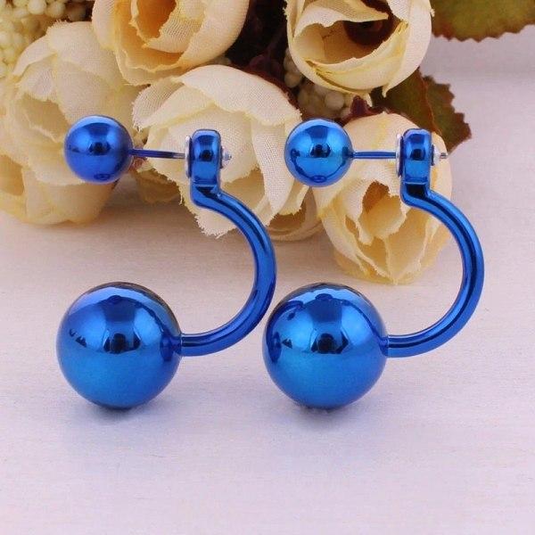 Örhängen - Blanka Dubbla Pärlor / Bollar - Dubbelpärlade - Blå Blå