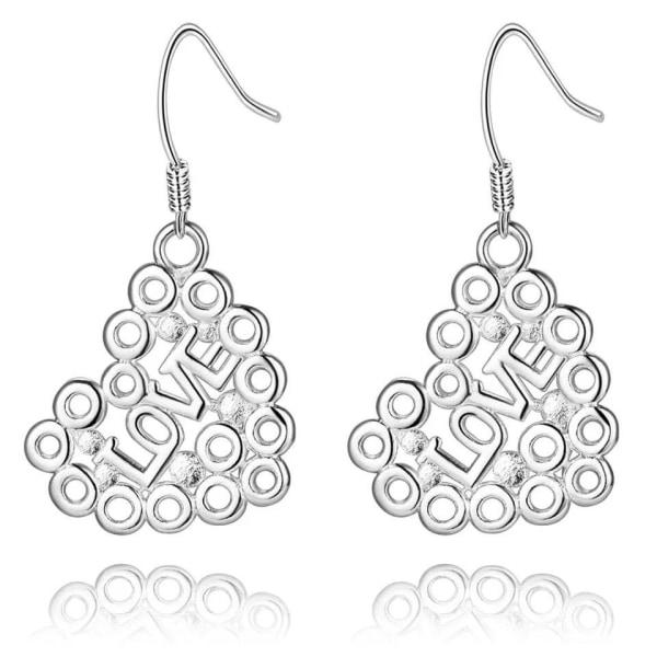 Romantiska Silver Örhängen - Hjärta med Cirklar & text Love Silver