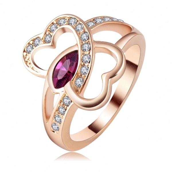 Rosé Guld Ring med Dubbla Hjärtan & Kristaller - 18K GP - Stl 18 Rosa guld