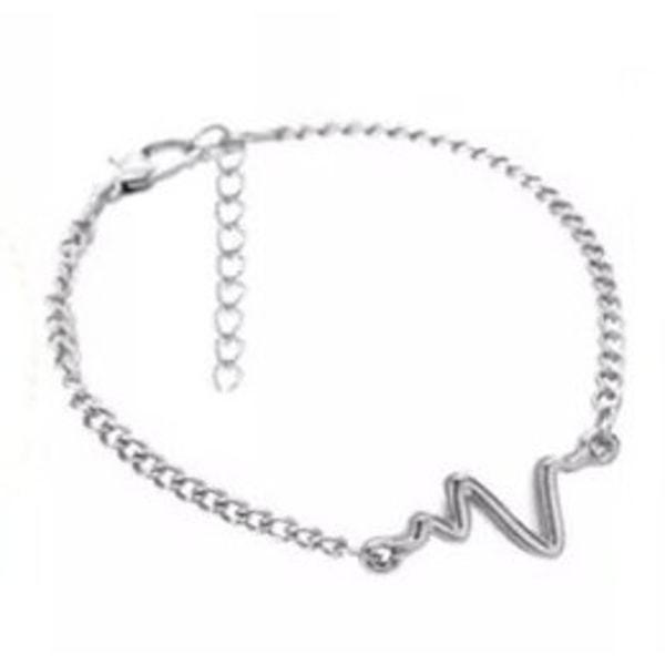 Silver Armband med EKG-Kurva / Heartbeat / Hjärtslag / Hjärta Silver