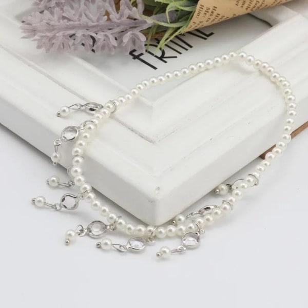 Silver Fotsmycke Fotlänk Vristlänk Fotkedja Rhinestones & Pärlor Silver