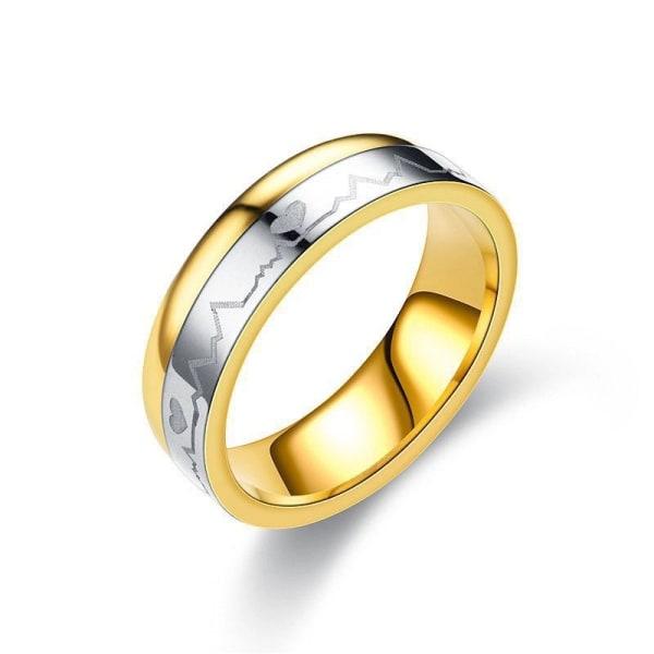 Silver & Guld Ring med EKG/Heartbeat /Hjärtslag & Hjärta -Stl 20 Guld