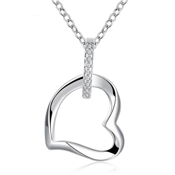 Silver Halsband - en rad Vita CZ Kristaller med Hjärta / Heart Silver