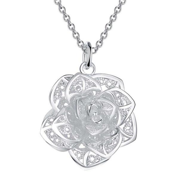 Silver Halsband med Fina Detaljer & Stor Blomma / Ros  Silver