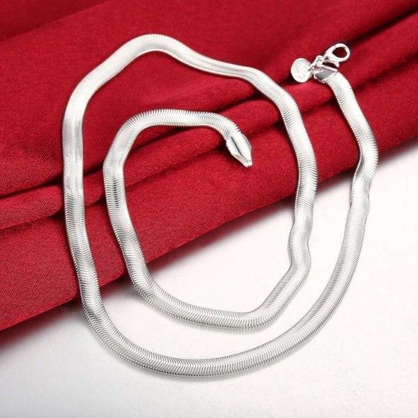 Silver Halsband - Platt Ormlänk - Stilren Design    Silver