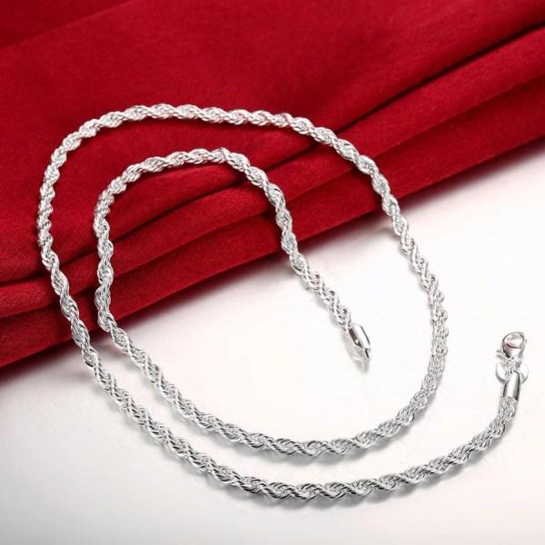 Silver Halsband - Twist & Tvinnat - Stilren Design - 4 mm Silver