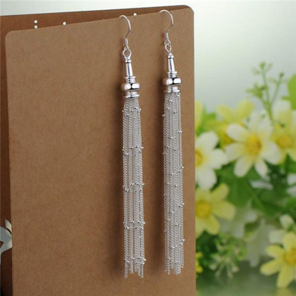 Silver Örhängen - Kedjor med små Kulor - Lyxig Design  Silver