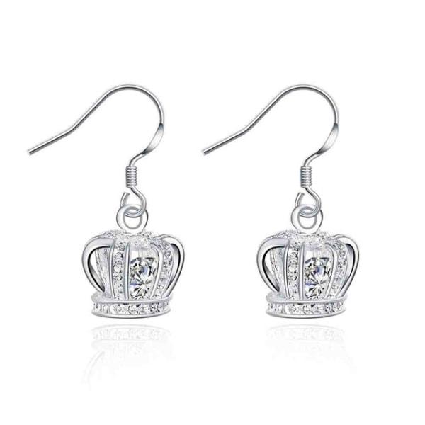 Silver Örhängen - Krona med Vit CZ Kristall / Prinsessa Silver