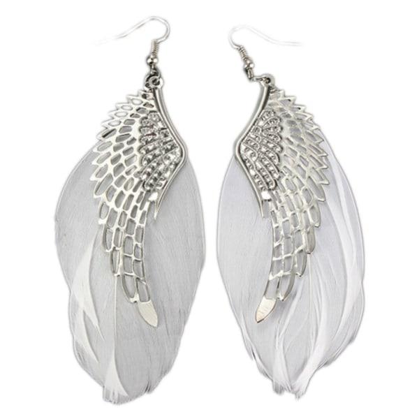 Silver Örhängen med Vita Fjädrar - Änglavingar Ängel Vinge Silver
