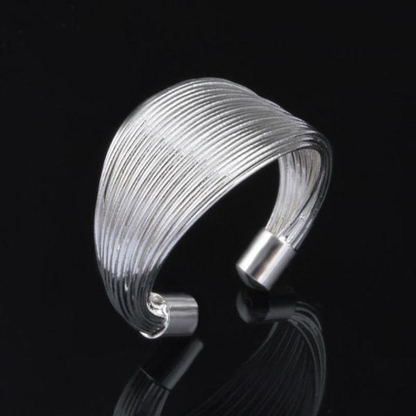 Silver Ring med Strängar - Lyxig Design - Justerbar  Silver one size