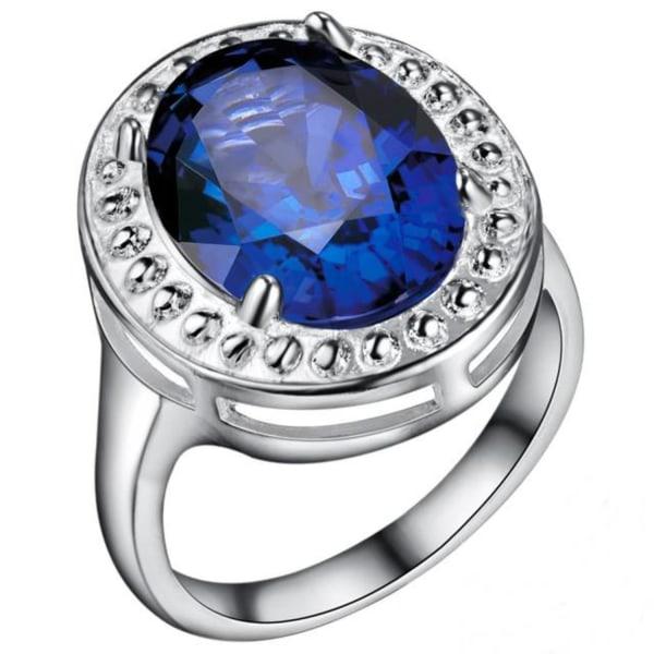 Silver Ring - Oval Blå CZ Kristall & Fint Mönster - Stl 18,2 Blå