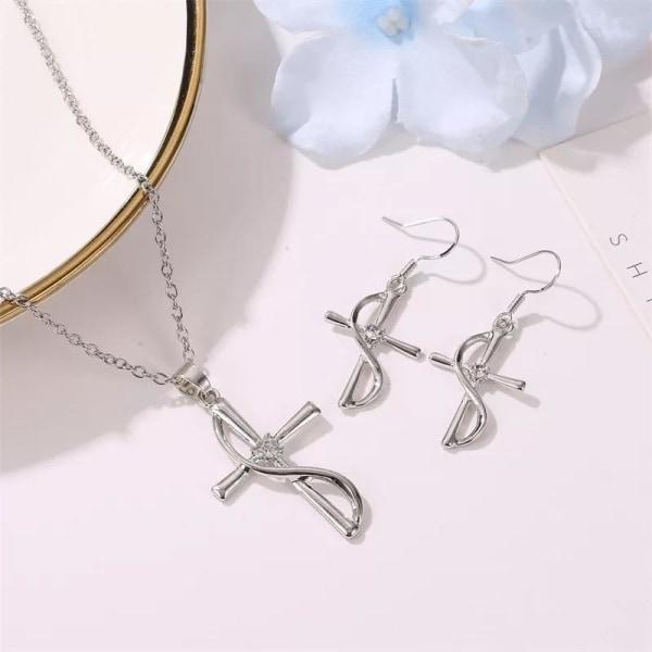 Silver Smyckesset - Halsband & Örhängen - Kors & Vit Kristall Silver