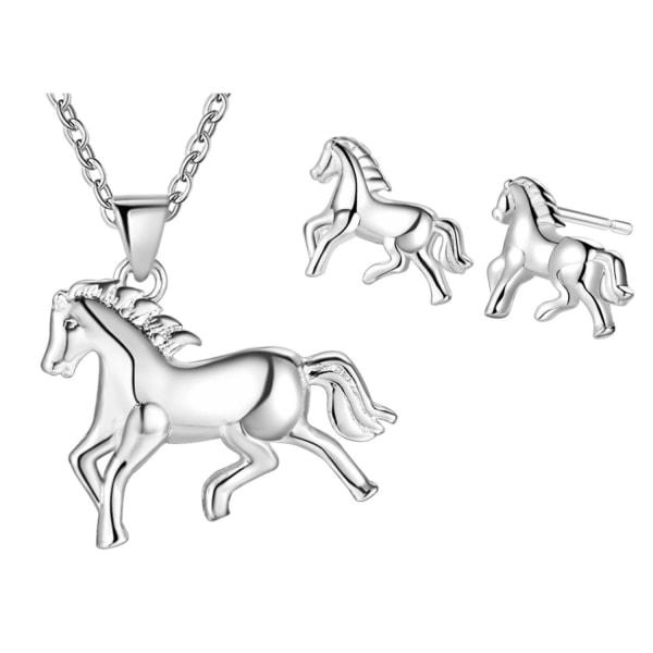 Silver Smyckesset - Halsband & Örhängen - Söta Hästar  Silver