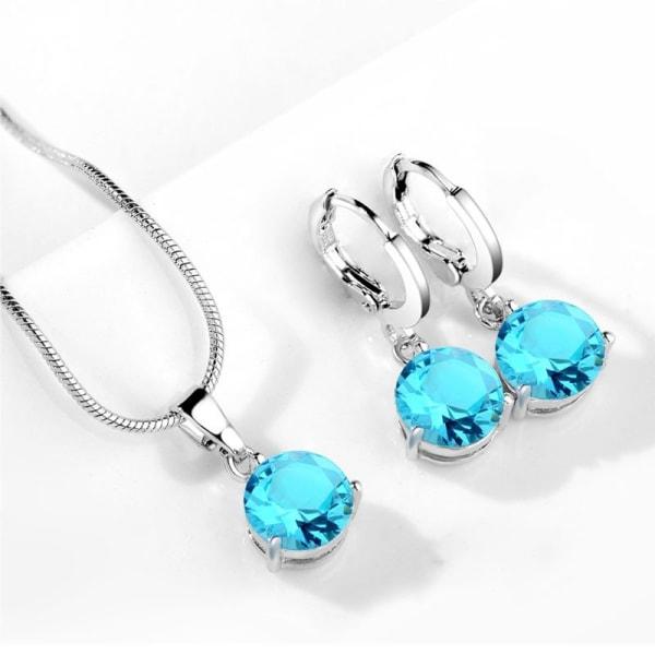 Silver Smyckesset - Halsband & Örhängen - Turkos CZ Kristall Turkos