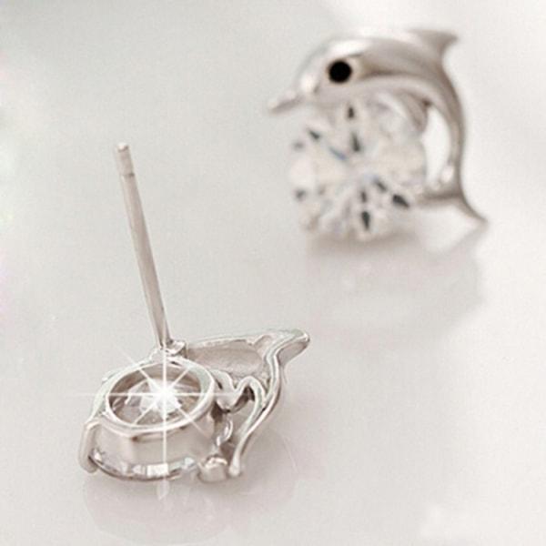 Silver Stud Örhängen med Delfiner / Dolphin & CZ Kristall Silver
