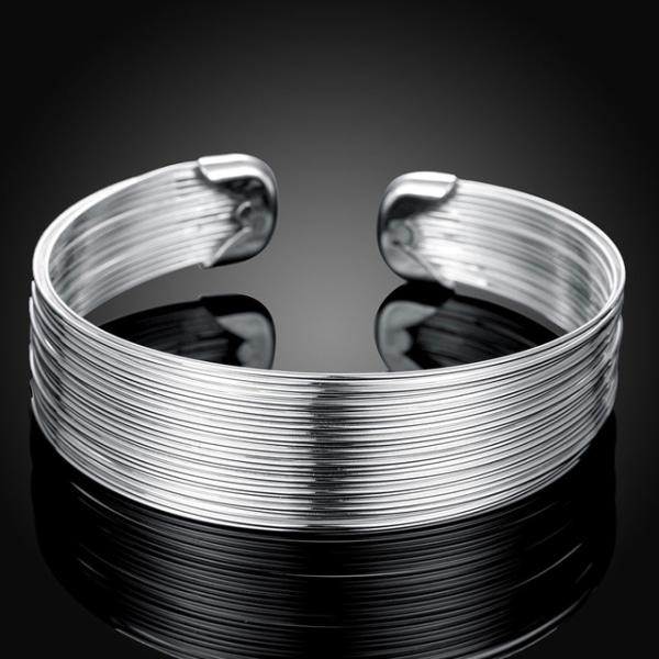 Stelt Silver Armband / Bangle med Strängar - Lyxig Design   Silver