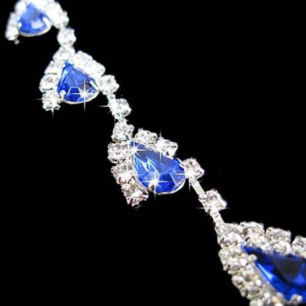 Strass Smyckesset - Blå & Vita Kristaller - Halsband & Örhängen Blå