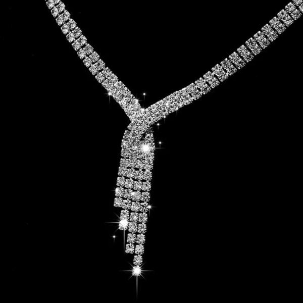 Strass Smyckesset med Vita Rhinestones - Halsband & Örhängen  Silver