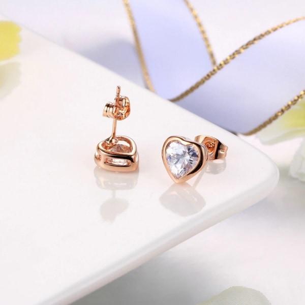 Stud Örhängen - Hjärtan & Vit CZ Kristall - Rosé Guldpläterade Rosa guld