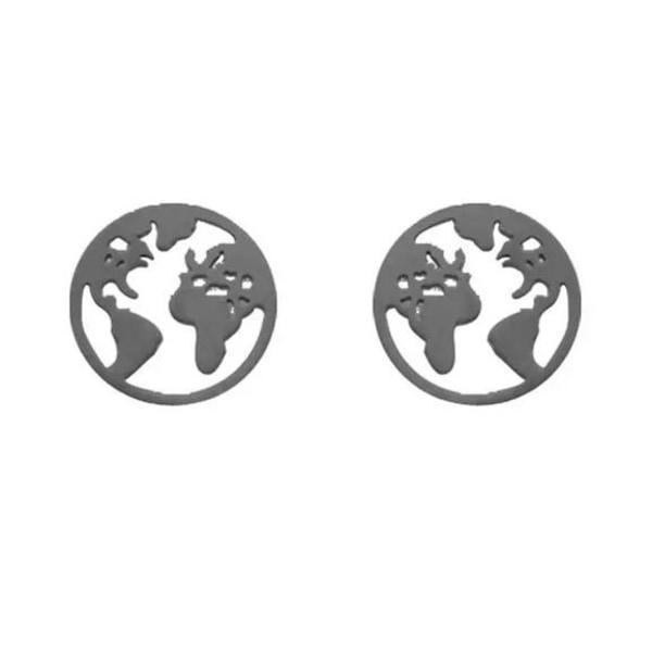 Svarta Stud Örhängen med Världskarta/Världen/Jorden/Jordglob Svart