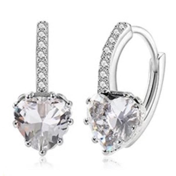 Vit Guld Hoop Örhängen - Hjärta med Vita CZ Kristaller  Vit