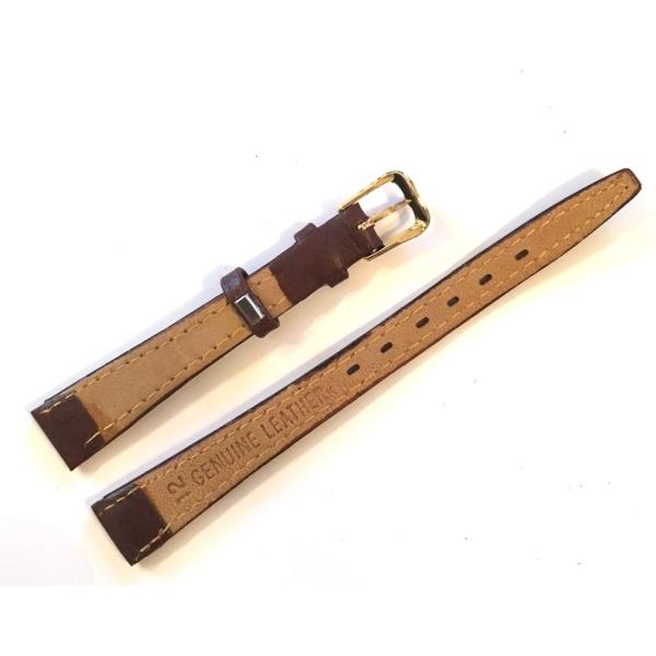 Klockarmband Brunt KalvLäder 12mm | Guldspänne Brun