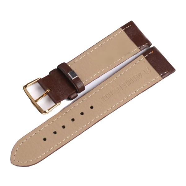 Klockarmband Brunt Läder - 18 - 24mm Guldspänne Brown 24mm