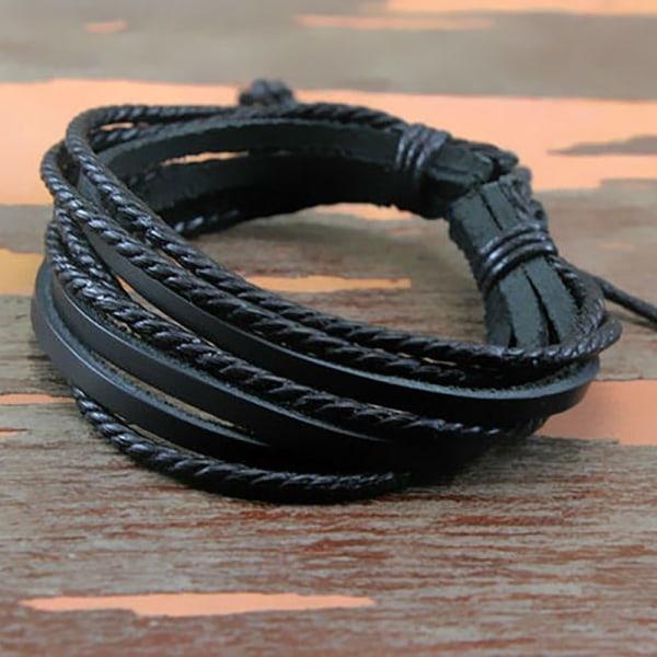 Stilfullt Armband | Läder Svart
