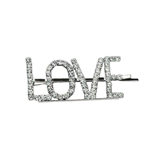 Hårnål med tekst - Love Silver