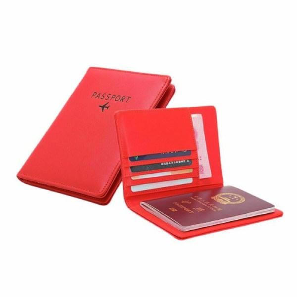 Passhållare i PU-läder, Röd Röd