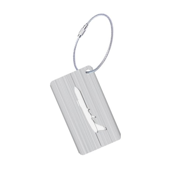 Bagagetag i Aluminium med flygplans motiv - Silver Silver