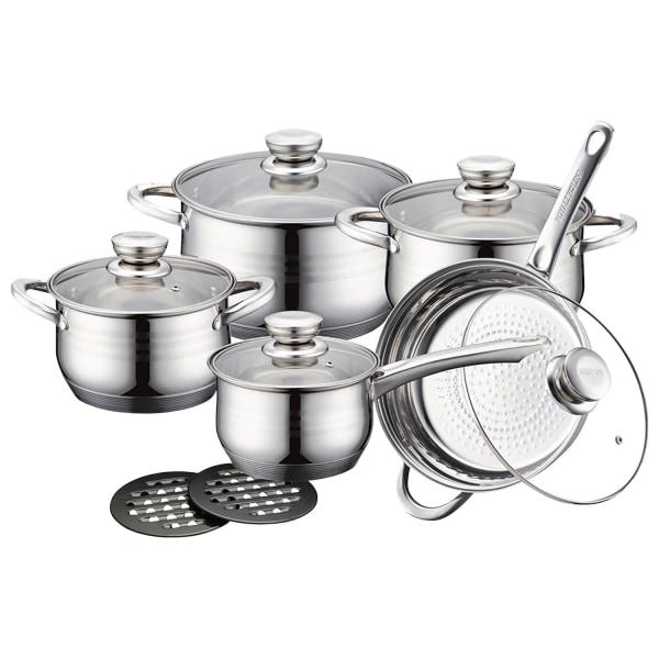 Gryt-, Stek- och Kastrullset - 5 Kokkärl Silver