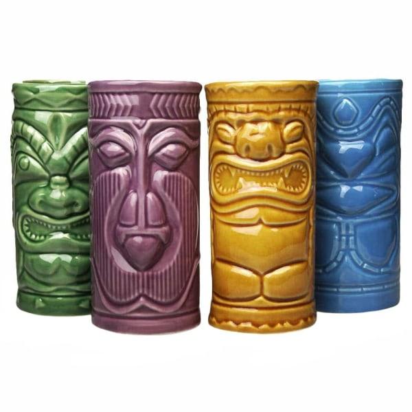 4x Keramikmuggar - Tiki multifärg