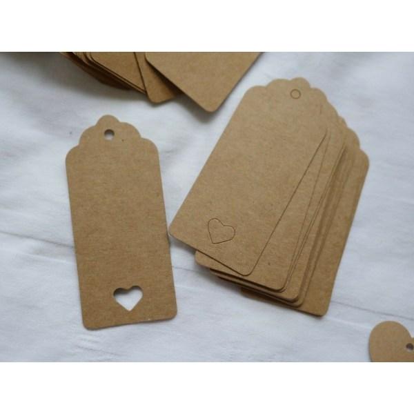 Etiketter i papp med snöre, 50-pack Beige