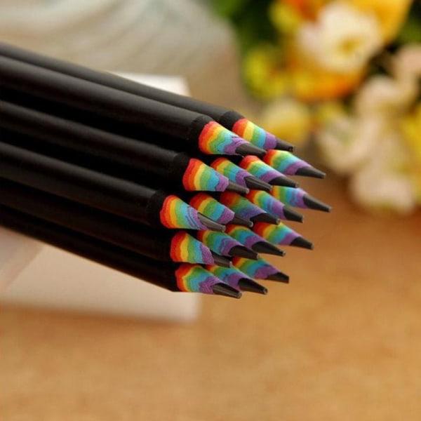 10x Blyertspennor med Regnbågsfärger - Svart Svart