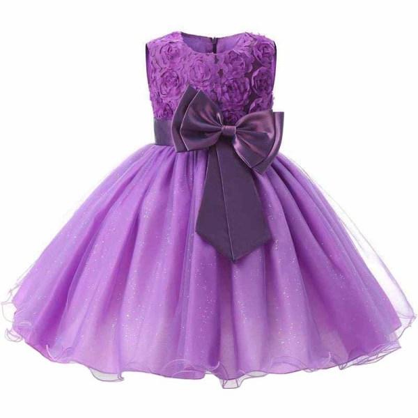 Iltapuku rusetilla ja kukilla - Violetti (140) Purple 140