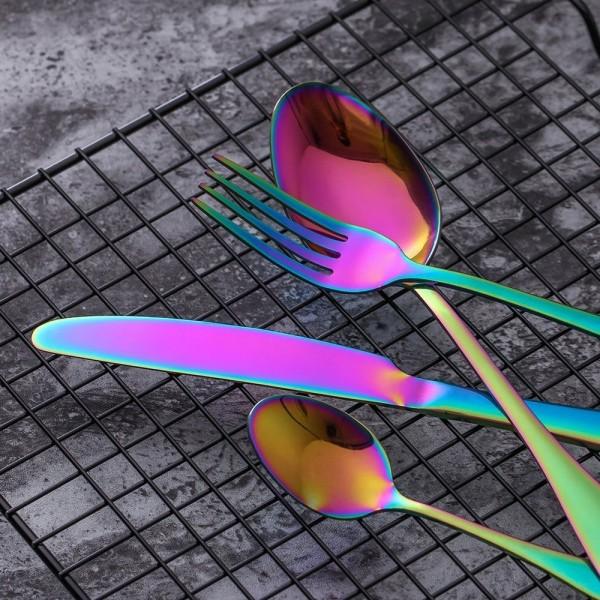 Ruokailuvälinesetti ruostumatonta terästä, 4 osaa - Sateenkaari Multicolor