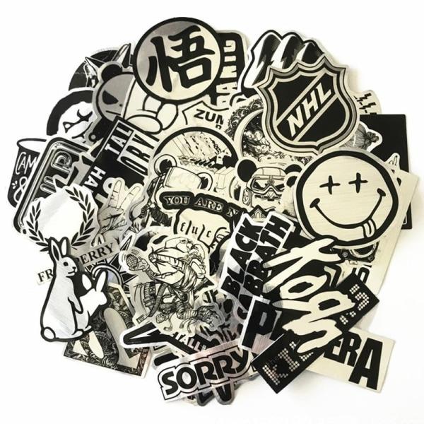 50x Klistermärken, Metall #2 Silver